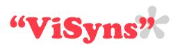 ViSyns logga. Röd text med grå blomma.